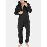 Men Zip Down Plain Hooded Pajamas