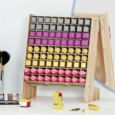 81 Grids Wooden Lipstick Desktop Storage Rack Nail Polish Organizer Display