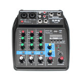 TU04 Mini 4 Channel صوت Mixer with Sound بطاقة Mixing Console الدعم bluetooth USB Bass for Home موسيقى Webcast K Song