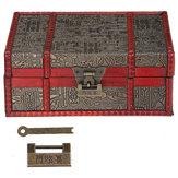 Retro Lock Jewelry Storage Organizer Wooden Case Treasure Chest Box Vintage