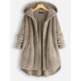 Kadın Polar Düzensiz Uzun Kollu Kapşonlu Palto