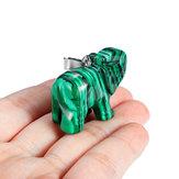 2 Pcs / 1 Pcs Verde Natural Elefante Jade Esculpida À Mão Decoração Estátua de Cristal Desejo Relaxar Decorações Bonitos