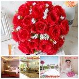 18 Head / Bouquet 15'' Artificial Silk Roses Flowers Bridal Home Wedding Decor Supplies