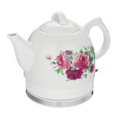 1.2L Electric Tea Water Kettle Ceramic Pot with Floral Rose Variable Temp White