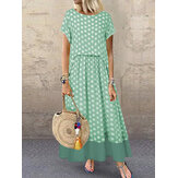 Polka Dot Two Pieces Summer Plus Size Maxi Dress
