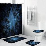 4個/セットシャワーカーテン防水バスルームバスマットラグトイレふたカバーホーム