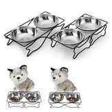 Stainless Steel Double Pet Bowls Dish Dog Cat Stand Feeder Food Water Bowl Feeding Dish