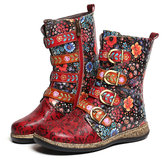 Women Retro Metal Buckle Leather Comfy Ankle Boots