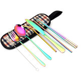 8PCS/Set Stainless Steel Cutlery Knifes Fork Spoon Set Outdoor Dinnerware Tableware With Storage Bag