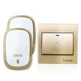 CACAZI AC110-220V Draadloze deurbel Waterdicht 1 knop + 2 plug-in ontvangers 300M externe muziekdeur Dell