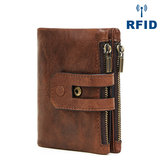 Men Genuine Leather Vintage Multi-slots Anti-theft Wallet