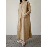 Повседневный Женское Свободные однотонные карманы с длинным рукавом Платье