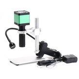 Caméra de Microscope vidéo industriel numérique HAYEAR 48MP + objectif 100X monture C + 56 LED anneau lumineux pour réparation de soudure + Stand Holder