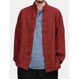 Chemises à col montant à manches longues 100% coton pour hommes
