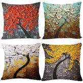 Cojín Caso Almohada de flores de árbol Caso Funda de cojín de lino y algodón Decoración para el hogar de regalo