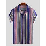 Men Ethnic Stripe Print Short Sleeve Relaxed Hawaiian Shirts