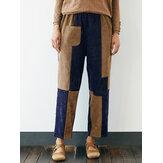 Kadife Patchwork Cep Plus Boyut Pantolon