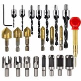 23 Pack Woodworking Chamfer Countersink Drill Bit 6pcs 1/4 Inch Hex 5 Flute 90 Degree Countersink Drill Bits 7pcs Three Pointed Countersink Drill Bit 8PCS Wood Plug Cutter Automatic Center Pin Punch