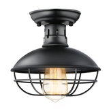 Metal Cage Ceiling Light E26 Rustic Mini Semi Flush Mounted Pendant Lighting for Foyer Kitchen Garage Porch Entryway