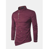 Mens Embroidery Irregular Hem long Sleeve Shirts