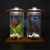 LED Light Dual Clear Glass Betta Aquarium Fish Tank Bamboo Shelf Home Office