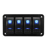 Universal 4 Gang LED Wippschalter Panel wasserdicht IP65 für 12V-24V RV Boot Yacht Marine