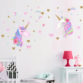 3 Types Magic Pink Horse Wall Stickers Dreamy Home Decor For Kids Room Decorations