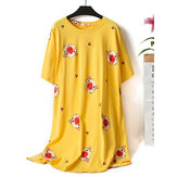 O Neck Print Cotton Short Sleeve Loungewear Nightgown
