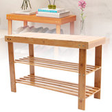 Natural Bamboo Shoe Bench 2-Tier Schuhregal Shelf Organizer Möbel Schuhregale