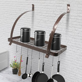 Bronze Iron 8 Hooks Pan Holder Shelf Rack Hanging Bathroom Hanger Kitchen Organizer Multi-use Shelf Cup Bowl Pot Storage Rack Home Decor