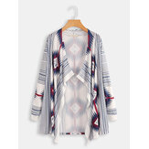 Plus Size Contrast Color Print Long Sleeve Cloak Cardigans
