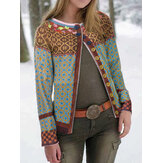 Ethnic Print Patchwork Long Sleeve Cardigans For Women
