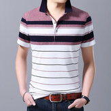 Men Short-sleeved T-shirt Striped Shirt Collar Half-sleeved