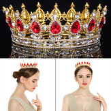High Red Sparkling Crystal Gold King Crown Pageant