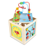 5 in 1 Wooden Toys Activity Cube Kids Baby Bead Maze Educational Toys Learning Puzzle Toys Gifts