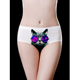 White Ice Silk Cat Printed Mid Waist Soft Briefs
