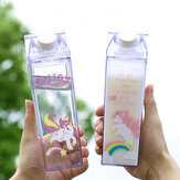 Portable Cup Novelty Milk Carton Shaped Cartoon Unicorn Printed Water Bottle