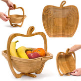 Collapsible Apple Shaped Bamboo Basket Kitchen Fruit Storage Centerpiece Decorations