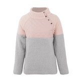 Women Casual Fleece Button High Collar Patchwork Sweatshirt