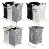 3 Grids Foldable Clothes Storage Hamper Baskets Organizer Laundry Bag