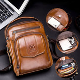 Bullcaptain Men Genuine Leather Shoulder Bag For Outdoor