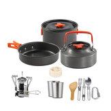 14 pcs Camping Cuisine Ustensiles de Cuisine Pots Casseroles Tasses Poêle Bouilloire Vaisselle