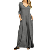 Women Causal V Neck Long Sleeve Pockets Solid Long Maxi Dress