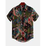 Erkek Vintage Etnik Stil Kısa Kollu Baskı Gömlek