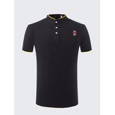 Herrebroderi Solid Colour Stand Knappen Knap Golf Shirt