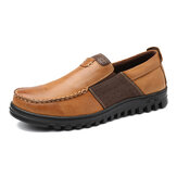 Herre Comfy Moccasin Toe Leather Splicing Soft Casual Sko