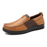 Erkekler Rahat Moccasin Toe Deri Ekleme Soft Rahat Ayakkabılar