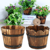 Wooden Round Waves Barrel Planter Flower Pot Home Office Garden Wedding Decor