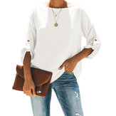 Adjustable Long Sleeves Casual Solid Loose Blouse