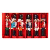 6 adet 12 cm Ahşap Fındıkkıran Doll Asker Noel Süsler Noel Hediyeler Süslemeleri